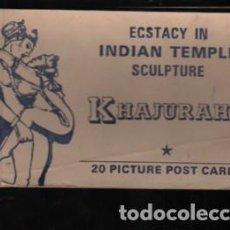 Postales: BLOC DE 20 POSTALES DE ESCULTURAS EROTICAS ECSTACY IN INDIAN TEMPLE SCULPTURE KHAJURAHO. Lote 277242653