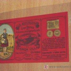 Cartes Postales: ETIQUETA. LA ASTURIANA. GRAN FÁBRICA DE ACHICORIA PURA GARANTIZADA. OVIEDO. CALLE ASTURIAS.. Lote 10621217