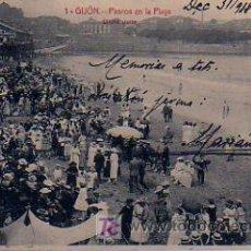 Postales: GIJÓN. PASEOS EN LA PLAYA. CLICHÉ JULIO. . Lote 12462302