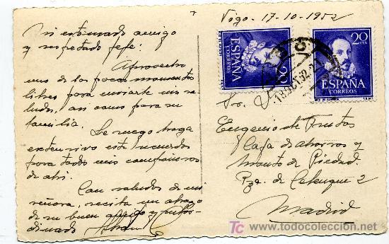 Postales: VIGO Nº 148 - ED. ARRIBAS - PUERTO BOUZAS- FRANQUEADA Y ESCRITA 1952 (VER FOTO) - Foto 2 - 26256442