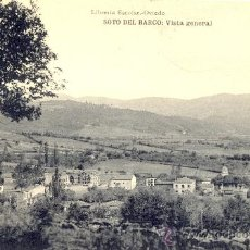 Postales: SOTO DEL BARCO (ASTURIAS). VISTA GENERAL. POSTAL, BLANCO Y NEGRO, C. 1915-1920. OV. Lote 27514220