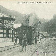 Postales: COVADONGA (ASTURIAS). ESTACIÓN DEL TRANVÍA. POSTAL BLANCO Y NEGRO, C. 1920. OV. Lote 21775132