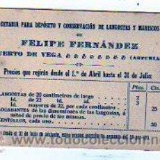 Postales: TARJETA (11 X 8 CM) CETARIA CONSERVACION DE LANGOSTAS Y MARISCOS. PUERTO DE VEGA. ASTURIAS.. Lote 12524602