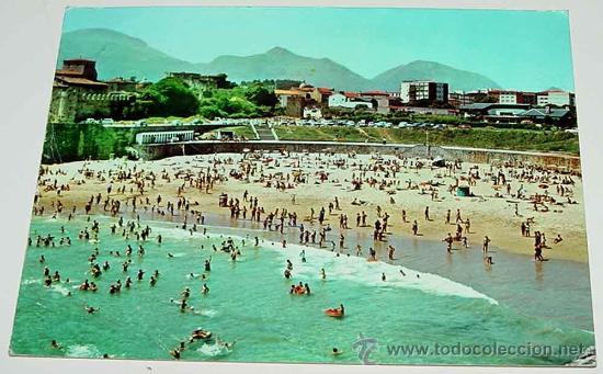 ANTIGUA FOTO POSTAL DE LLANES - ASTURIAS - PLAYA DEL SABLON - CIRCULADA - ED. GIF. (Postales - España - Asturias Moderna (desde 1.940))