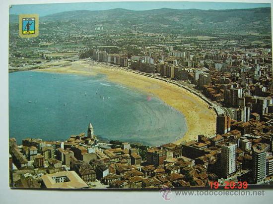 8079 GIJON ASTURIAS VISTA AEREA AÑOS 1960 - MAS DE ESTA CIUDAD EN MI TIENDA COSAS&CURIOSAS (Postales - España - Asturias Moderna (desde 1.940))