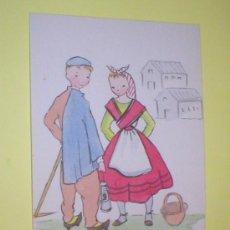 Postales: ASTURIAS TIPOS ASTURIANOS POSTAL ACUARELADA 1950. Lote 24928220