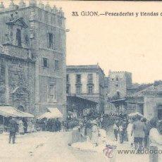 Cartes Postales: GIJÓN.- PESCADERÍAS Y TIENDAS DEL AIRE. Lote 13799988