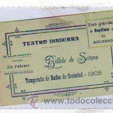 Postales: TEATRO DINDURA. BILLETE DE SEÑORA. TEMPORADA DE BAILES DE SOCIEDAD. 1905. 8 X12 CM. GIJON. ASTURIAS.. Lote 25475528