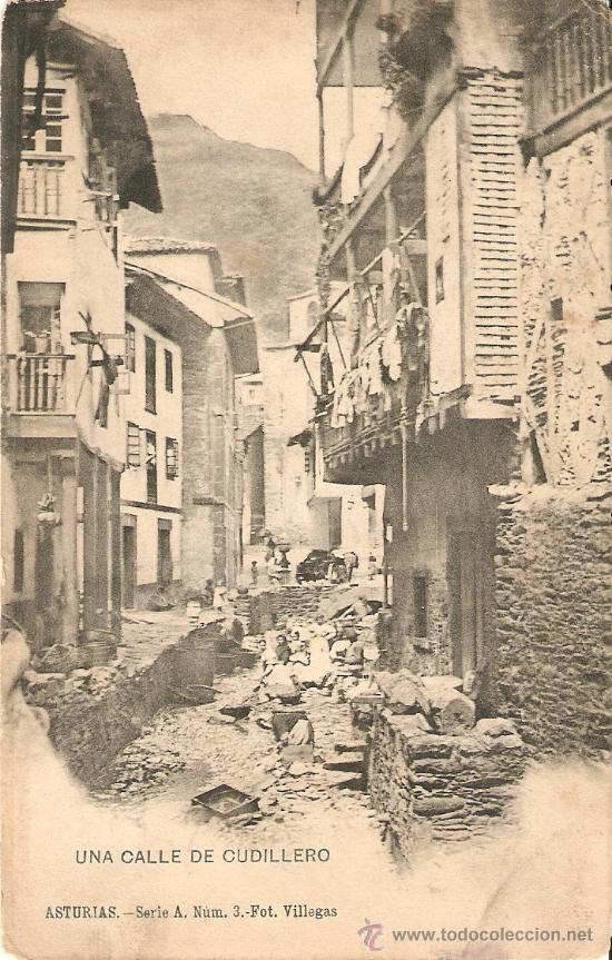 ASTURIAS.UNA CALLE DE CUDILLERO (Postales - España - Asturias Antigua (hasta 1.939))