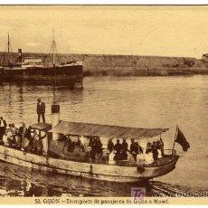Postales: MAGNIFICA POSTAL - GIJON - TRANSPORTE DE PASAJEROS DE GIJON A MUSEL EN BARCAZA. Lote 19008558