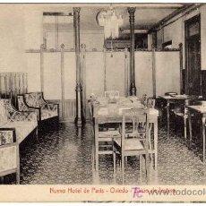 Postales: BONITA POSTAL - OVIEDO - NUEVO HOTEL PARIS - SALON DE LECTURA. Lote 18790689