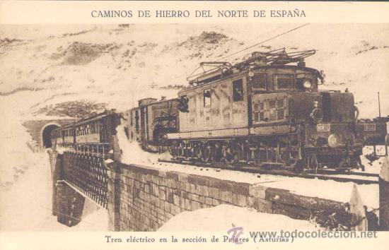 ASTURIAS.-TREN ELÉCTRICO EN LA SECCIÓN DE PAJARES (Postales - España - Asturias Antigua (hasta 1.939))