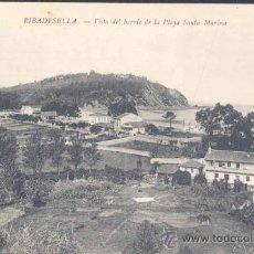 Postales: RIBADESELLA(ASTURIAS).- VISTA DEL BARRIO DE LA PLAYA SANTA MARINA. Lote 15952846