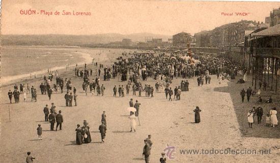 POSTAL DE GIJON PLAYA SAN LORENZO (Postales - España - Asturias Antigua (hasta 1.939))