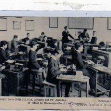 Postales: GIJON. COLEGIO DE LA INMACULADA,JESUITAS. Nº 10 CLASE DE MECANOGRAFÍA. 2º COMERCIO. FOTOTIPA HAUSER.. Lote 19239336