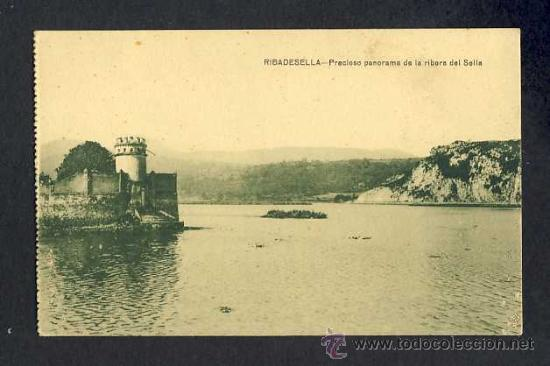 POSTAL DE RIBADESELLA (ASTURIAS): PRECIOSO PANORAMA DE LA RIBERA DEL SELLA (ED.JESUS DELGADO) (Postales - España - Asturias Antigua (hasta 1.939))