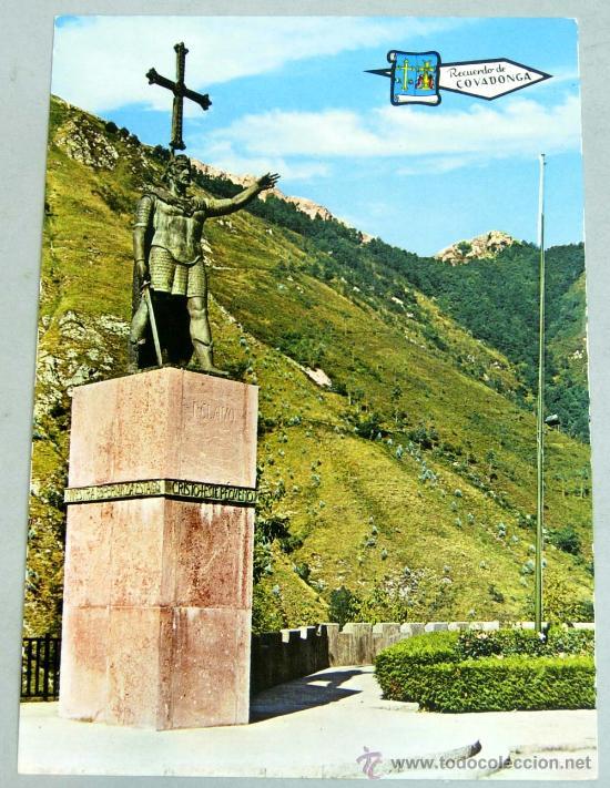 POSTAL COVADONGA ESTATUA DE DON PELAYO 1971 (Postales - España - Asturias Moderna (desde 1.940))