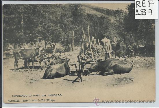 ASTURIAS-ESPERANDO LA HORA DEL MERCADO(REF-187) (Postales - España - Asturias Antigua (hasta 1.939))