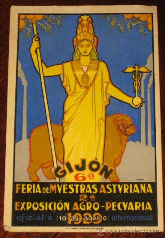 ANTGIUA POSTAL DE ASTURIAS - GIJON FERIA DE MUESTRAS ASTURIANA - EXPOSICION AGRO PECUARIA AÑO 1929 - (Postales - España - Asturias Antigua (hasta 1.939))