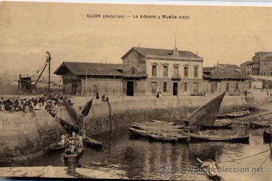 GIJÓN (ASTURIAS).- LA ADUANA Y MUELLE VIEJO (Postales - España - Asturias Antigua (hasta 1.939))