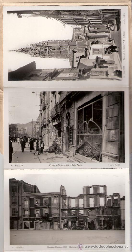 Postales: OVIEDO - SUCESOS OCTUBRE 1934- 15 POSTALES FOTOGRAFICAS EN BLOCK ACORDEON- VER FOTOS- (B-34) - Foto 2 - 27362696