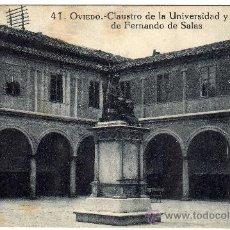 Postales: BONITA Y RARA POSTAL - OVIEDO - CLAUSTRO DE LA UNIVERSIDAD Y ESTATUA DE FERNANDO DE SALAS. Lote 27652479