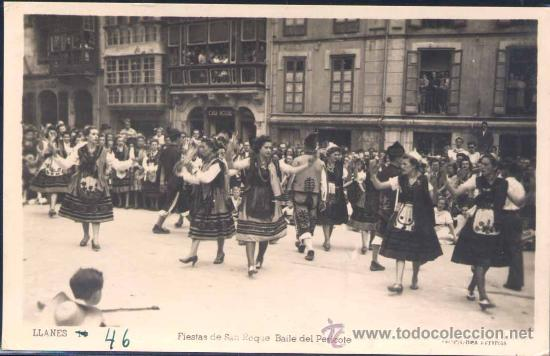 LLANES (ASTURIAS).- FIESTAS DE SAN ROQUE. BAILE DEL PERICOTE (Postales - España - Asturias Moderna (desde 1.940))