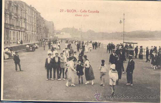GIJÓN (ASTURIAS).- CALLE EZCURDIA (Postales - España - Asturias Antigua (hasta 1.939))