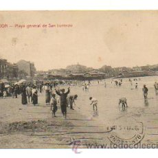 Postales: GIJÓN. PLAYA GENERAL DE SAN LORENZO. (ED. S. RODERO Nº 2). CIRCULADA. . Lote 29037719