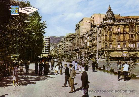 ESPAÑA. T. P. Nº 204. OVIEDO. PASEO DE JOSÉ ANTONIO Y CALLE DE URIA. CIRCULADA AÑO 1968. MAGNÍFICA. (Postales - España - Asturias Moderna (desde 1.940))
