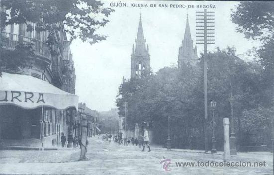 GIJÓN (ASTURIAS).- IGLESIA DE SAN PEDRO DE BEGOÑA (Postales - España - Asturias Antigua (hasta 1.939))