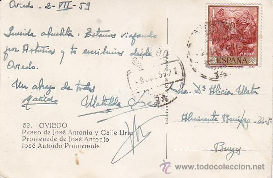 Postales: OVIEDO: PASEO DE JOSE ANTONIO Y CALLE URIA. BONITA POSTAL EDICIONES ALARDE CIRCULADA 1959 A BURGOS. - Foto 2 - 29593198