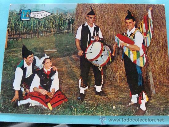 POSTAL DE ASTURIAS. AÑO 1968. FOLKLORE ASTURIANO. GAITEROS. MOCITOS A BAILAR. 878. (Postales - España - Asturias Moderna (desde 1.940))