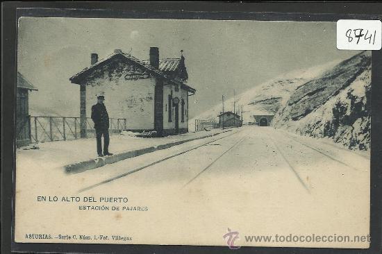 PAJARES - ESTACION EN LO ALTO DEL PUERTO - SERIE C NUM 1 - FOT. VILLEGAS - (8741) (Postales - España - Asturias Antigua (hasta 1.939))