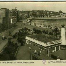 Postales: POSTAL GIJON BAR NAUTICO Y AVENIDA DE LA VICTORIA. Lote 30551981