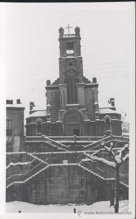INFIESTO (ASTURIAS)-. FOTOGRAFÍA DE LA IGLESIA EN LA NEVADA DE FEBRERO 1955 (Postales - España - Asturias Moderna (desde 1.940))