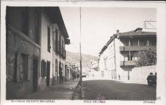 POLA DE LENA (ASTURIAS).- CALLE VICENTE REGUERAL (Postales - España - Asturias Moderna (desde 1.940))