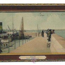Postales: GIJÓN. MUELLE DE LIQUERICA. (VER REVERSO). FIESTAS EN GIJÓN VERANO 1910. (ED. BENIGNO FERNANDEZ). Lote 32342714