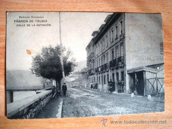 POSTAL ANTIGUA ASTURIAS FÁBRICA DE TRUBIA. CALLE DE LA ESTACIÓN. ESCRITA 15/09/1914. (Postales - España - Asturias Antigua (hasta 1.939))