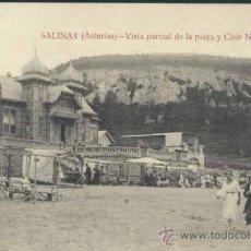 Postales: SALINAS (ASTURIAS).- VISTA PARCIAL DE LA PLAYA Y CLUB NAUTICO. Lote 32728073