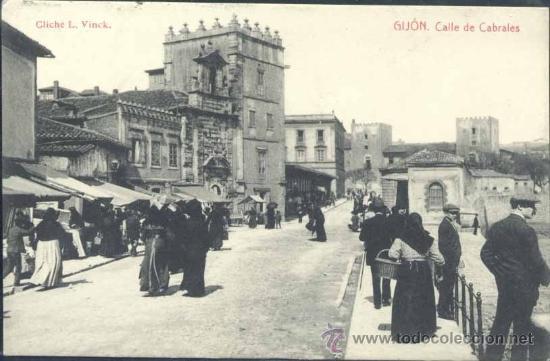 GIJÓN (ASTURIAS).- CALLE DE CABRALES (Postales - España - Asturias Antigua (hasta 1.939))