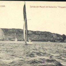 "Postales: GIJÓN (ASTURIAS).- SALIDA DEL MUSEL DEL BALANDRO ""HISPANIA"" DE S.R.M.. Lote 33100549"