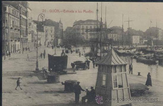 GIJÓN (ASTURIAS).- ENTRADA A LOS MUELLES (Postales - España - Asturias Antigua (hasta 1.939))