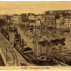 Cartes Postales: BONITA POSTAL - GIJON (ASTURIAS) - VISTA GENERAL DEL MUELLE - BARCOS . Lote 33565739