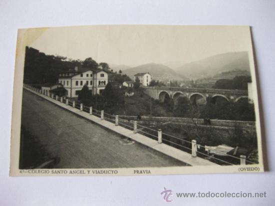 POSTAL FOTOGRAFICA DE PRAVIA - OVIEDO - COLEGIO SANTO ANGEL Y VIADUCTO - EDICIONES FOTOMELY (Postales - España - Asturias Moderna (desde 1.940))
