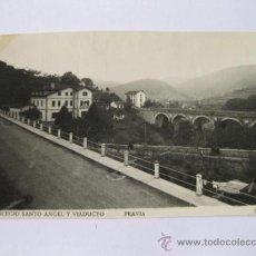 Postales: POSTAL FOTOGRAFICA DE PRAVIA - OVIEDO - COLEGIO SANTO ANGEL Y VIADUCTO - EDICIONES FOTOMELY. Lote 35338406