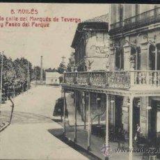 Postales: AVILÉS (ASTURIAS).- UN TROZO DE LA CALLE DEL MARQUES DE TEVERGA Y PASEO DEL PARQUE. Lote 34989303