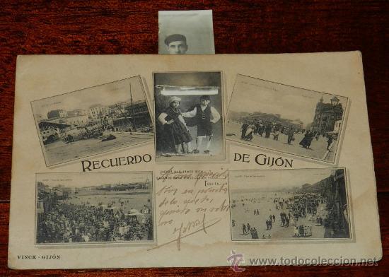 ANTIGUA POSTAL DE GIJON (ASTURIAS) RECUERDO DE GIJON, VINCK, TAL COMO SE VE EN LAS DOS FOTOS PUESTAS (Postales - España - Asturias Moderna (desde 1.940))