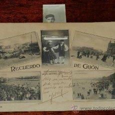 Postales: ANTIGUA POSTAL DE GIJON (ASTURIAS) RECUERDO DE GIJON, VINCK, TAL COMO SE VE EN LAS DOS FOTOS PUESTAS. Lote 36121929