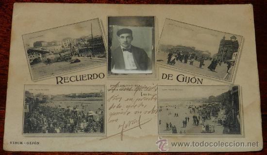 Postales: ANTIGUA POSTAL DE GIJON (ASTURIAS) RECUERDO DE GIJON, VINCK, TAL COMO SE VE EN LAS DOS FOTOS PUESTAS - Foto 2 - 36121929